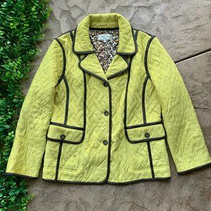 Tasha Polizzi • Lime Green Quilted Faux Leather Trim Coat